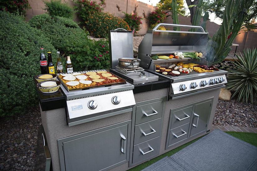 "Teppanyaki, Griddle, Built-In BBQ Grill with Side Burner, Storage Drawers 7'6"""