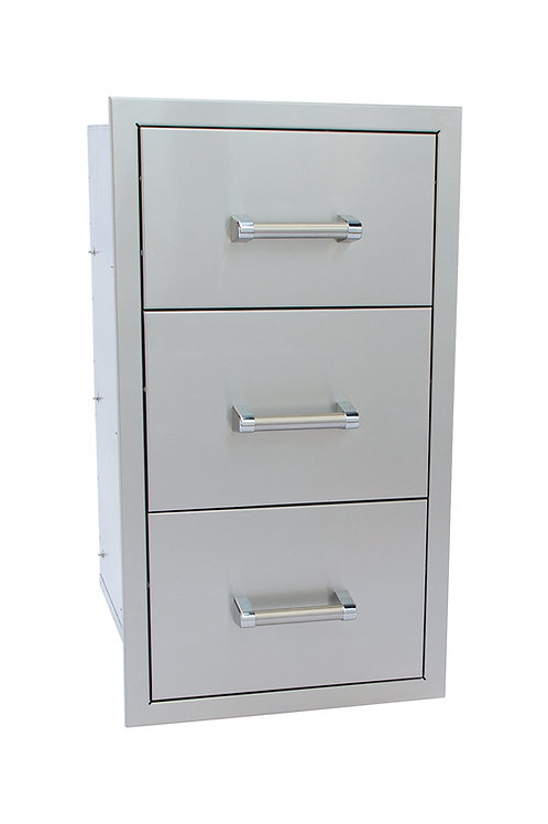 Stainless Steel Built-In Triple Drawer with Easy Glides and Bar Handles