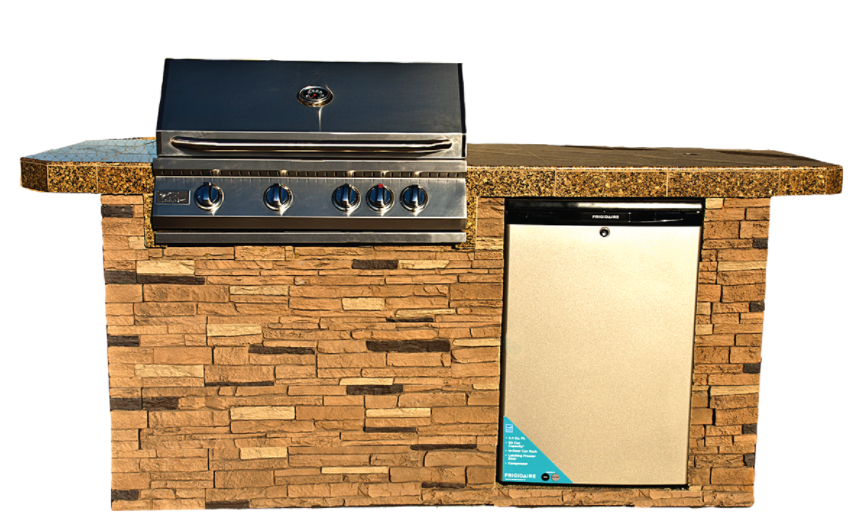"""St. John 7'6"""" BBQ Island with Bar on Three Sides and 4 Burner Built In BBQ Grill"""