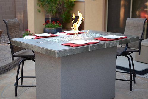Entertainer Bar Gas Fire Pit Table with fire glass