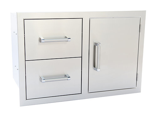 Stainless Steel Built-In Two Drawer One Door Combo With Dual Walls