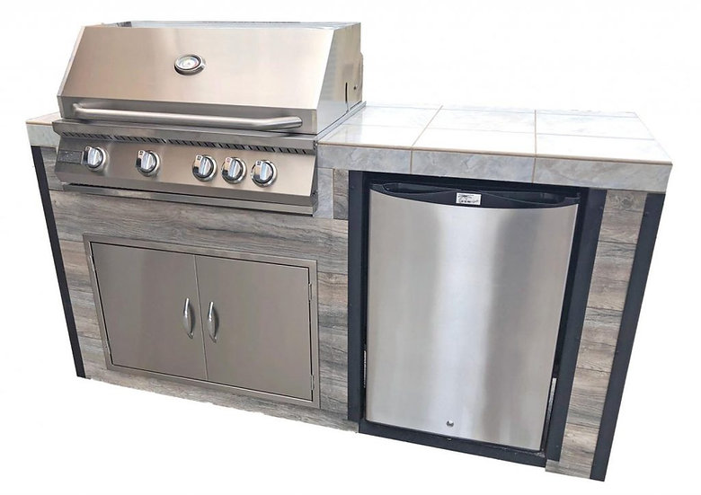 Elite 6' BBQ Island With Built In BBQ Grill Drift Wood Look Siding 30 Inch Doors