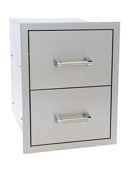 Stainless Steel Built-In Double Drawer with Easy Glides and Bar Handles