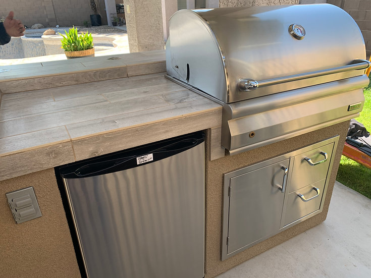Blaze Charcoal BBQ Grill Island with Combo Drawer & Refrigerator Outdoor Kitchen