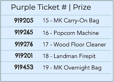 Premium Chinese Auction winning numbers