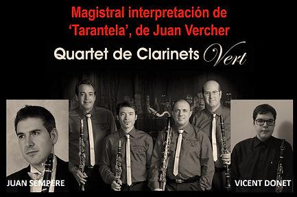 "Magistral interpretación de ""Tarantela"" de Juan Vercher Grau por Juan Sempere, Vicent Donet y el ""Cuarteto de Clarinetes Vert"""