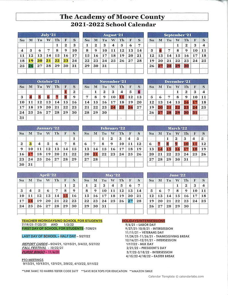 2021-2022 revised calendar