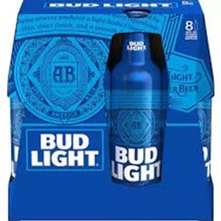 Bud Light 8 pack Aluminum 16oz bottles