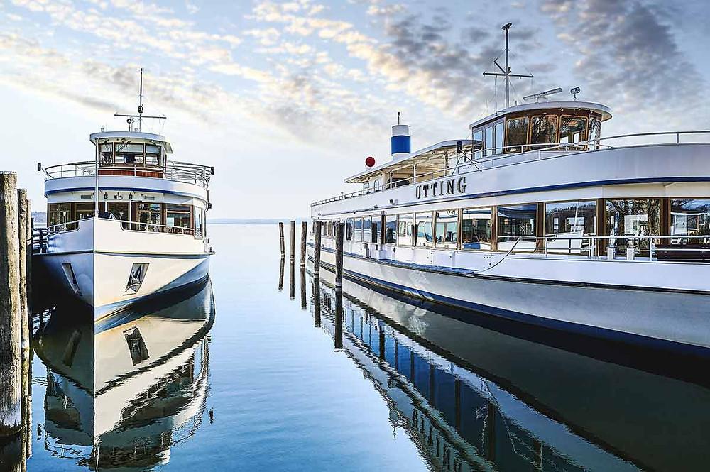 Familienausflug nach Stegen am Ammersee Schiffe