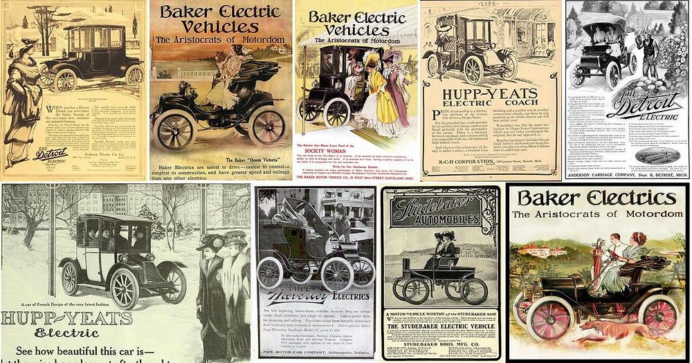 A propaganda dos carros elétricos no começo do século XX era direcionada às mulheres, suas principais compradoras