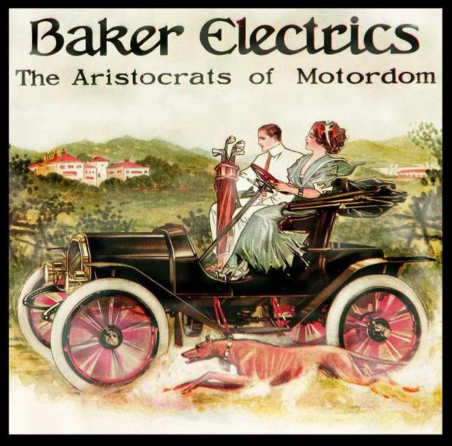 Mulher ao volante, homem de carona: o espírito dos carros elétricos dos 1900 era a facilidade, praticidade e inteligência, tudo a ver com o estilo feminino-emancipado que começava a surgir nos EUA