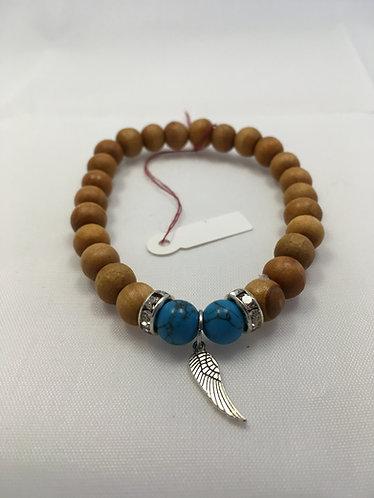 Feather turquoise mala bracelet