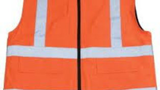 Fabric Orange Safety Jacket with 1 inch Reflective Tape (Pack of 50)