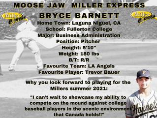 Miller Express Sign Pitcher Bryce Barnett for the 2021 Season