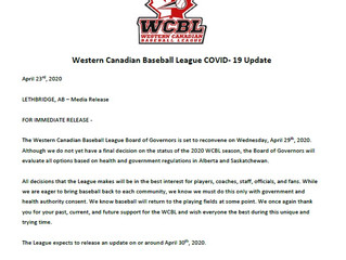 Press Release from the Western Canadian Baseball League April 23rd, 2020