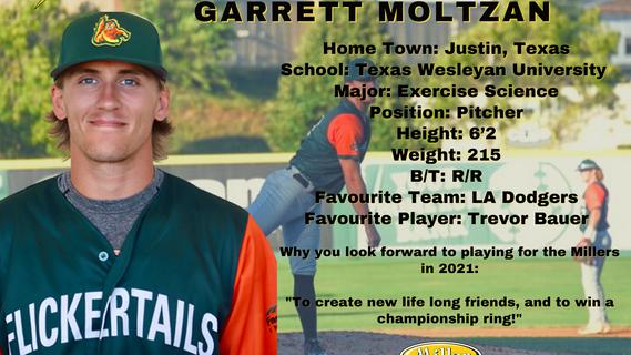 Millers Sign Pitcher Garrett Moltzan for the 2021 Season