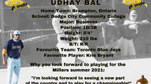 Millers Sign First Baseman Udhay Bal for the 2021 Season