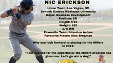Miller Express sign 2nd Baseman Nic Erickson