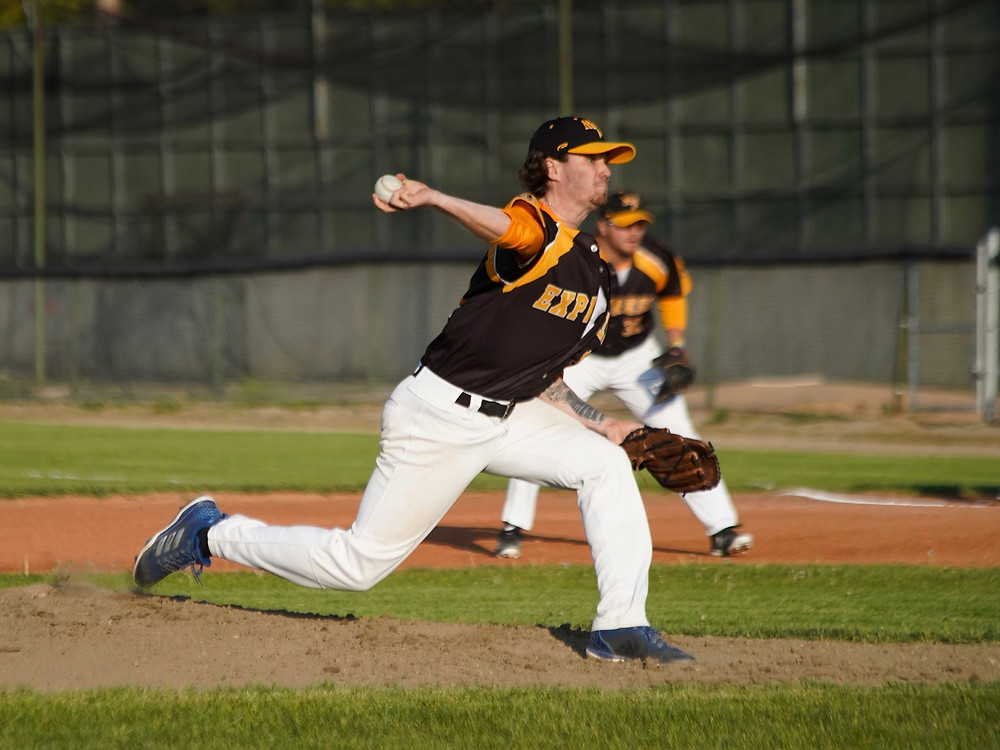 Starting pitcher Blake Gallagher delivers a pitch during Wednesday's 6-5 win over the Melville Millionaires at Ross Wells Park. (Photo: Marc Smith)