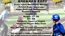 Miller Express Sign Outfielder Brennan Espy for the 2021 Season