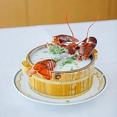 木盘生滚龙虾粥/Wooden Pot Lobster Congee