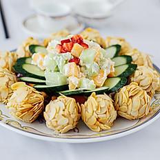 杏香百花球/Deep Fried Shrimp Ball w/ Almond Coating