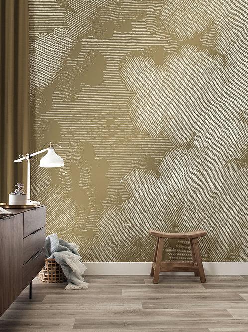Goud behang gegraveerde wolken - MW-010