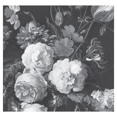 Fotobehang Golden Age Flowers - ZWART / WIT - WP-586