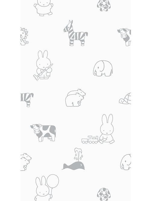 Nijntje behang met dieren - GRIJS - WP-503