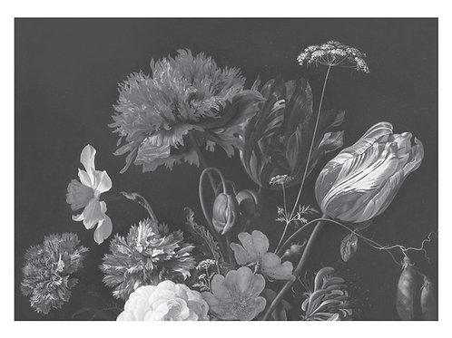 Fotobehang Golden Age Flowers - ZWART / WIT - WP-590