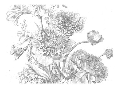 Fotobehang Engraved Flowers lV - WP-338