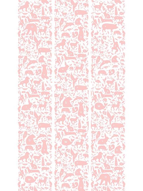 ABC dieren behang - ROZE - WP-047