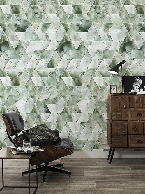 Marble mosaic behang - GROEN- WP-577
