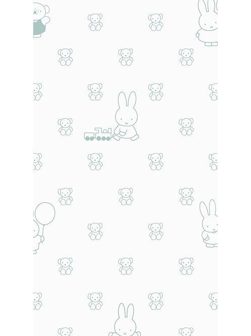 Nijntje behang met beren - GROEN -WP-509
