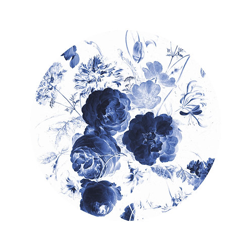 Royal Blue Flowers - behangcirkel