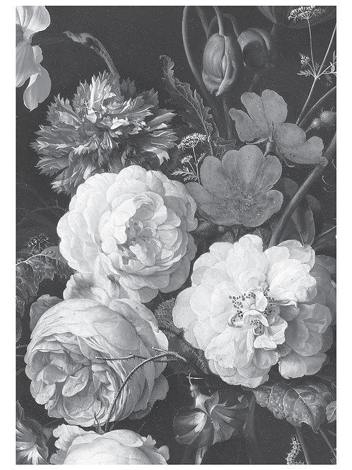 Fotobehang Golden Age Flowers - ZWART / WIT - WP-585