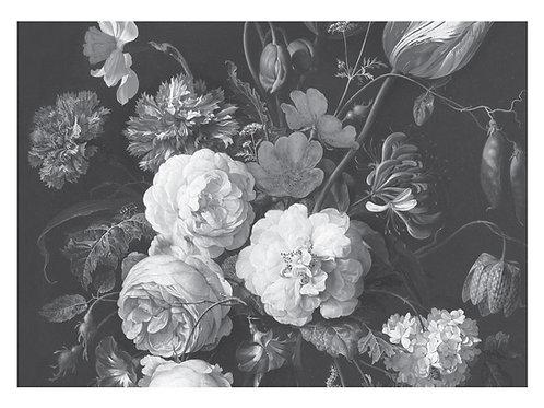 Fotobehang Golden Age Flowers - ZWART / WIT - WP-587