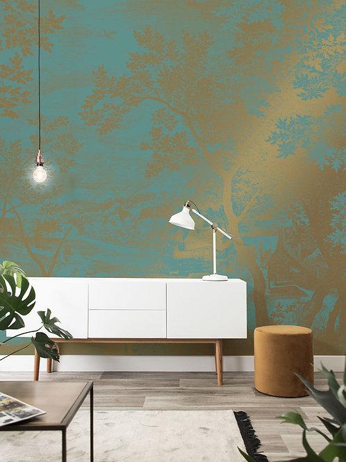 Goud behang Engraved Landscapes -  MW-034