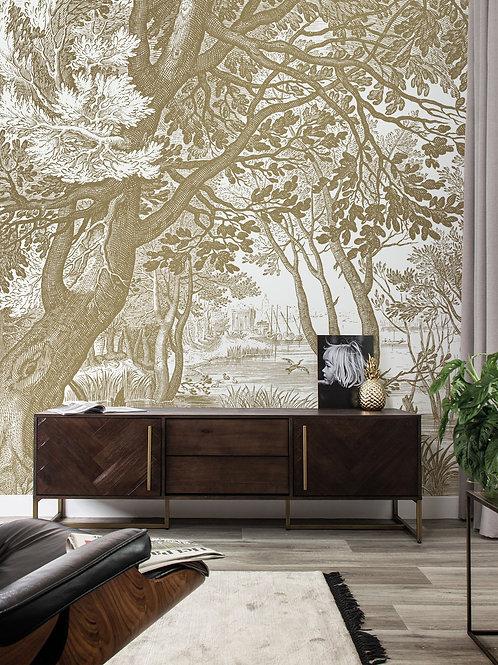 Goud behang Engraved Landscapes -  MW-04