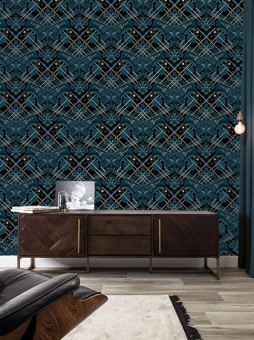 Goud metallic behang met vlinder - BLAUW - MW-007