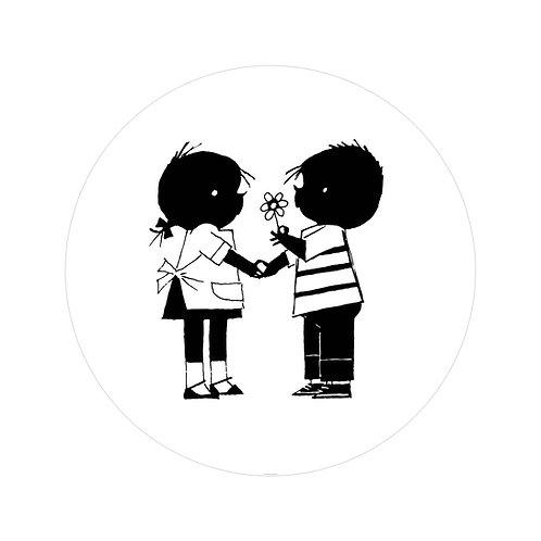 Jip & Janneke met bloem - behangcirkel - SC-084
