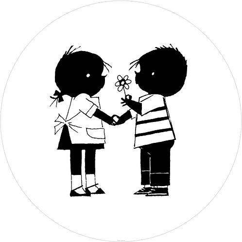 Jip & Janneke met bloem - behangcirkel - CK-084