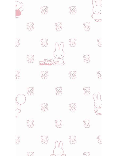 Nijntje behang met beren - ROZE - WP-511