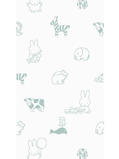 Nijntje behang met dieren - GROEN - WP-504
