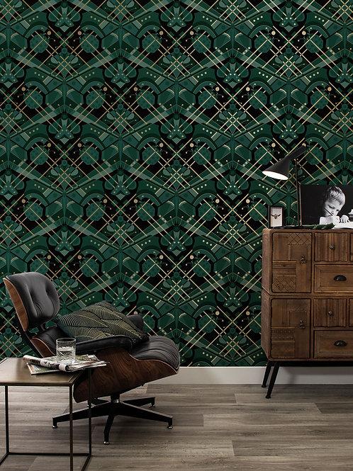 Goud metallic behang met vlinder - GROEN - MW-008
