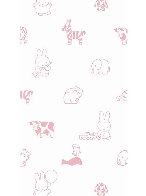 Nijntje behang met dieren - ROZE- WP-506