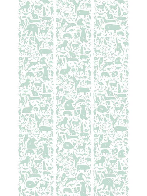 ABC dieren behang - GROEN - WP-044