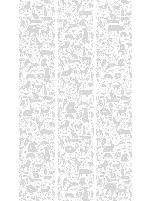 ABC dieren behang - GRIJS - WP-045
