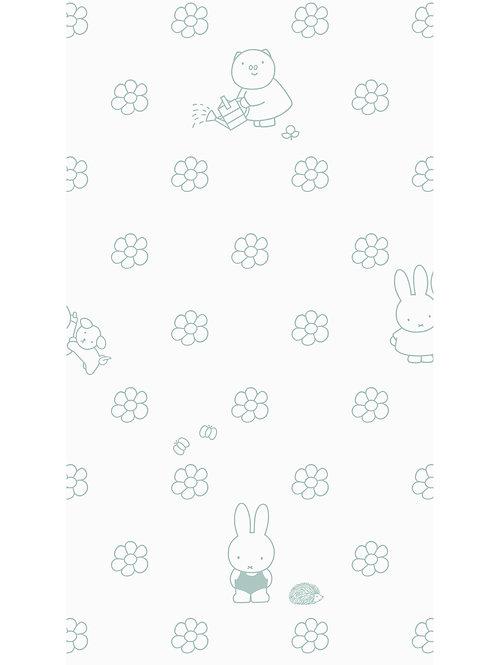 Nijntje behang met bloemen - GROEN - WP-524