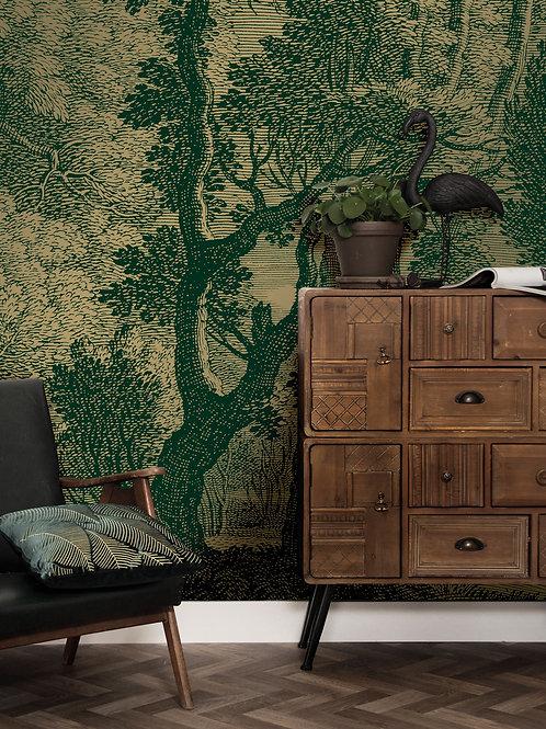 Goud behang Engraved Landscapes - MW-031